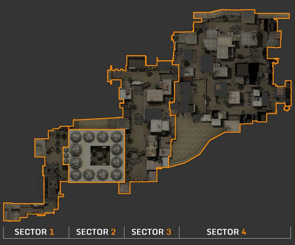 The Fireteam Mode Desert Thunder Map is divided into four sectors: